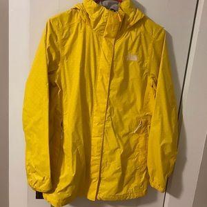 Yellow polka dot north face rain jacket